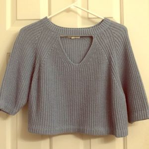Light Blue Slouchy cropped sleeve knit sweater